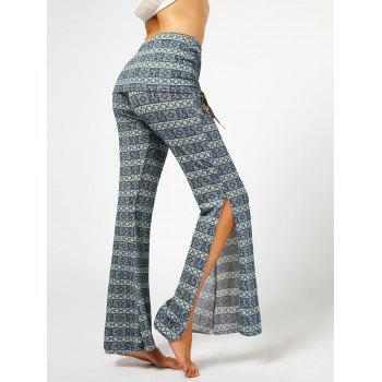 Women's Chic High Waist Bowknot Lace Loose Flare Pants - GRAY L