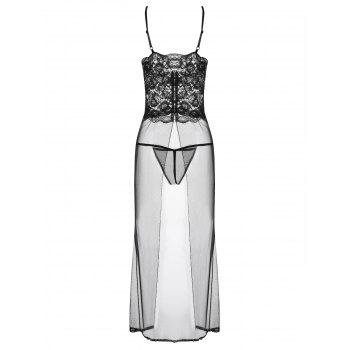 Long Mesh Sheer Slip Babydoll - M M
