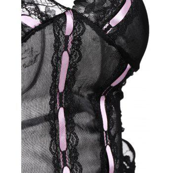 Lace Tier Ruffles Lingerie Babydoll - ONE SIZE ONE SIZE