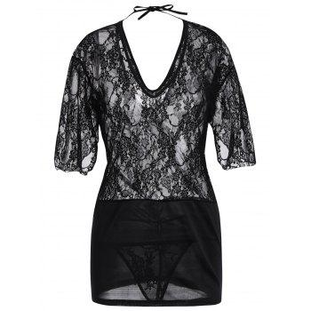Lace Plunge Backless Sleep Dress