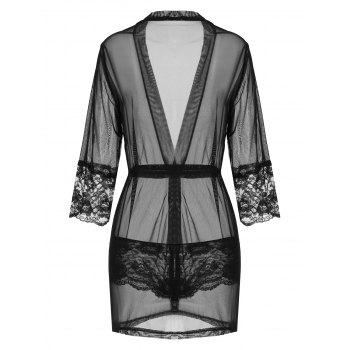 Sheer Mesh Wrap Sleepwear with Sleeves - BLACK ONE SIZE