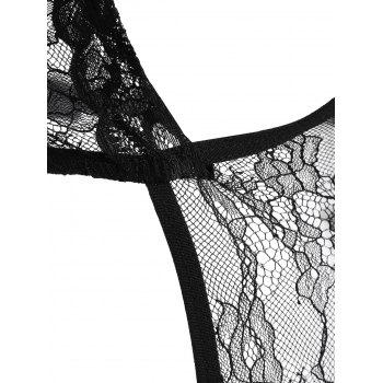 Cut Out Lace Sheer Teddy - BLACK BLACK