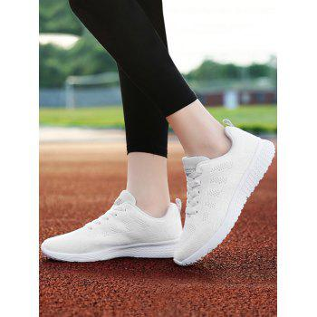 Mesh Eyelet Embroidery Athletic Shoes - 38 38
