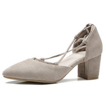 Chunky Heel Lace Up Suede Pumps - APRICOT 40