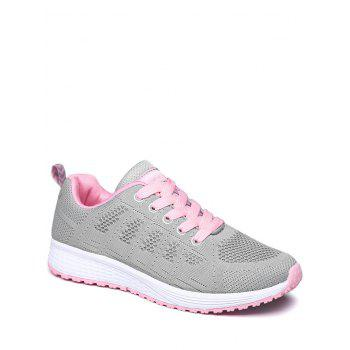 Mesh Eyelet Embroidery Athletic Shoes - PINK AND GREY 40