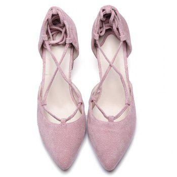 Chunky Heel Lace Up Suede Pumps - PINK 39
