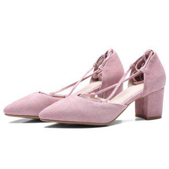 Chunky Heel Lace Up Suede Pumps - PINK 37