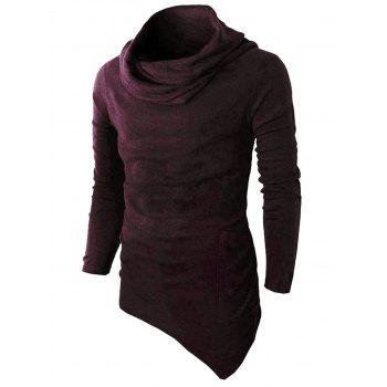 One Pocket Cowl Neck Asymmetrical Sweater