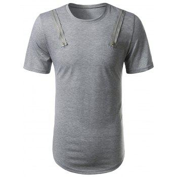 Crew Neck Zip Embellished Arc Hem Tee