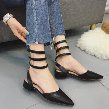 Point Toe Triple Ankle Strap Flats
