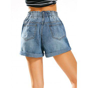 Boyfriend Style Jean Shorts with Elastic High Waist - DENIM BLUE L