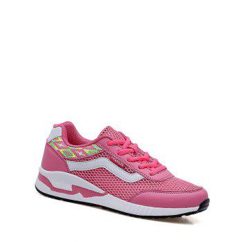 Breathable Geometric Pattern Athletic Shoes - PEACH RED 38