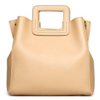 Square Handle Faux Leather Tote Bag - APRICOT APRICOT