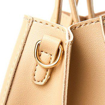 Square Handle Faux Leather Tote Bag - APRICOT