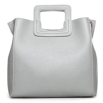 Square Handle Faux Leather Tote Bag - LIGHT GRAY LIGHT GRAY