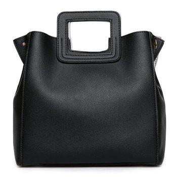 Square Handle Faux Leather Tote Bag - BLACK BLACK