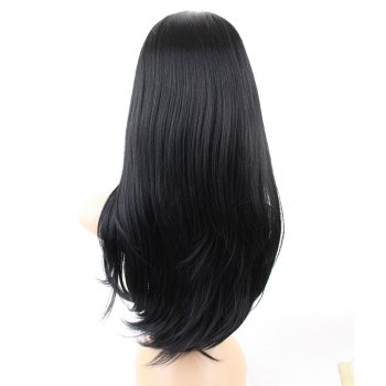 Long Oblique Bang Layered Straight Synthetic Wig - Noir