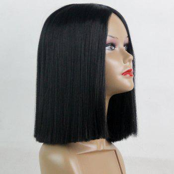 Middle Part Short Straight Blunt Bob Synthetic Wig Black