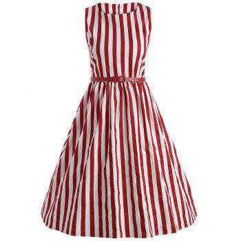 Vintage Striped Belted Pin Up Dress