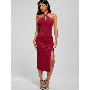 Halter Ruched Bodycon Slit Dress - Rouge M