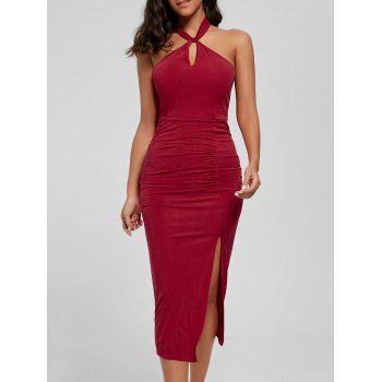 Halter Ruched Bodycon Slit Dress