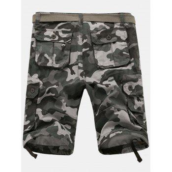 Zipper Fly Poches Camouflage Cargo Shorts - Gris 36