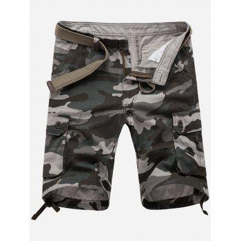 Zipper Fly Pockets Camouflage Cargo Shorts - GRAY GRAY