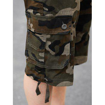 Zipper Fly Poches Camouflage Cargo Shorts - Vert Armée 38