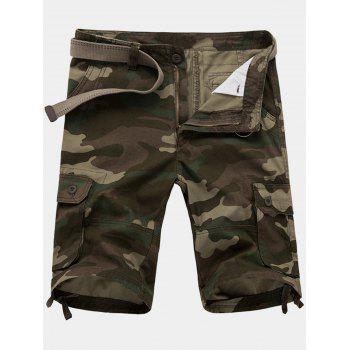 Zipper Fly Pockets Camouflage Cargo Shorts