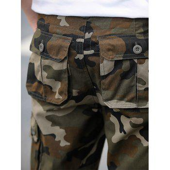 Zipper Fly Poches Camouflage Cargo Shorts - Vert Armée 36
