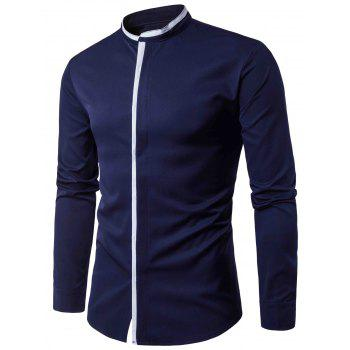 Color Block Panel Cover Placket Long Sleeve Shirt