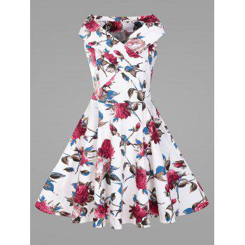 Plus Size Flower Vintage Swing Dress