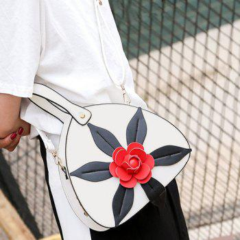 Flower Faux Leather Handbag -  WHITE