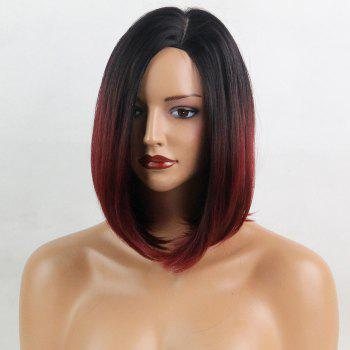 Side Part Ombre Short Straight Bob Synthetic Wig - BLACK / WINE RED