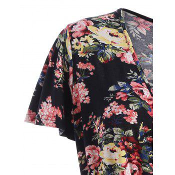Floral V Neck Plus Robe Homecoming - Noir 3XL