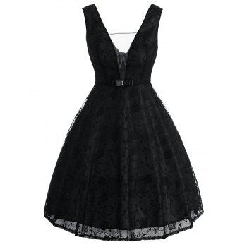 Bowknot See Thru Lace Vintage Dress