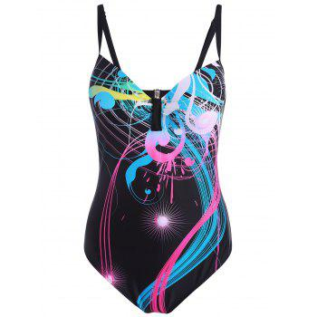 Plus Size Backless Printed Swimsuit
