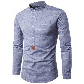 PU Leather Applique Long Sleeve Checked Shirt
