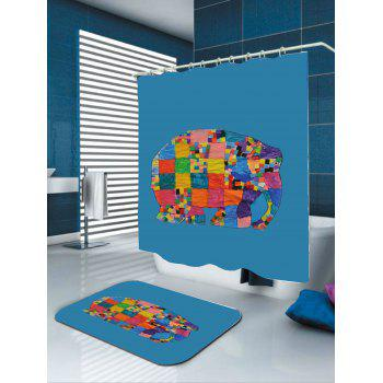 Waterproof Geometric Elephant Print Shower Curtain - COLORFUL W59 INCH * L71 INCH