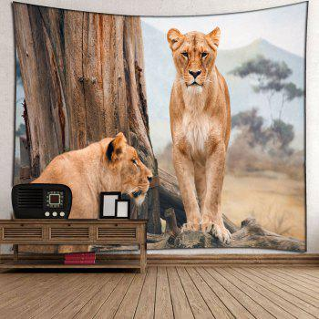 Lions Forest Waterproof Wall Art Tapestry - BROWN W59 INCH * L59 INCH