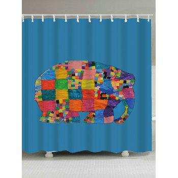 Waterproof Geometric Elephant Print Shower Curtain