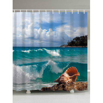 Conch Beach Print Waterproof Shower Curtain - LAKE BLUE W65 INCH * L71 INCH