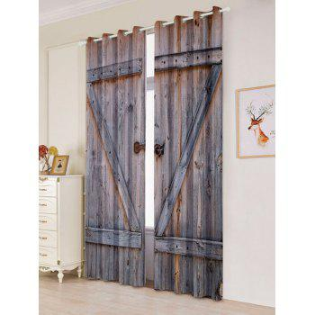 2 Panel Woody Door Window Screen Blackout Curtain - W53 INCH * L84.5 INCH W53 INCH * L84.5 INCH
