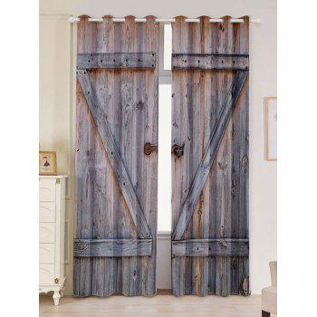 2 Panel Woody Door Window Screen Blackout Curtain - WOOD W53 INCH * L84.5 INCH