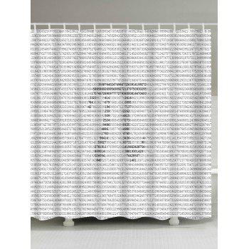 Number Pi Symble Print Waterproof Shower Curtain - GRAY W71 INCH * L71 INCH