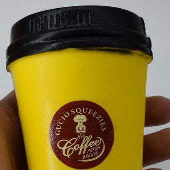 Squishy Toy PU Simulation Coffee Cup - Jaune