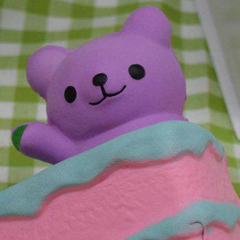 PU Slow Rebound Squishy Food Simulation Cake Bear -  PURPLE