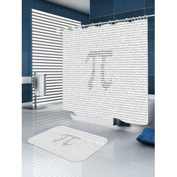 Number Pi Symble Print Waterproof Shower Curtain - GRAY GRAY
