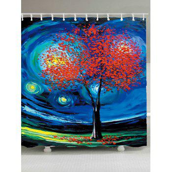 Oil Painting Tree of Life Shower Curtain - BLUE W71 INCH * L79 INCH