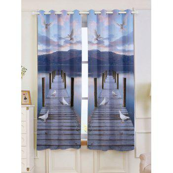 2 Panel Lake Scenic Grommet Blackout Window Curtain